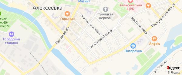 2-й Мостовой переулок на карте Алексеевки с номерами домов