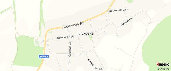 Карта села Глуховка в Белгородской области с улицами и номерами домов