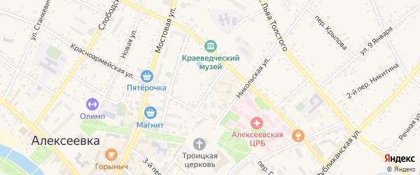 Переулок Некрасова на карте Алексеевки с номерами домов
