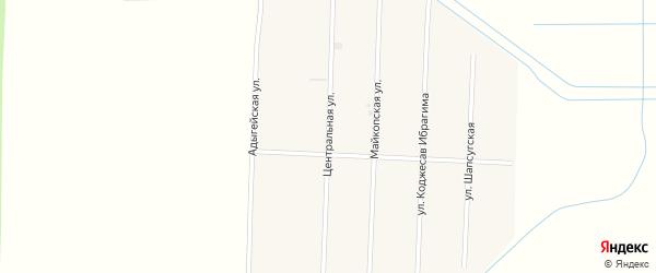 Центральная улица на карте садового некоммерческого товарищества Мелиоратор (Старобжегокайское с/п) с номерами домов