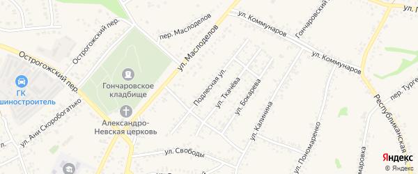 Подлесная улица на карте Алексеевки с номерами домов