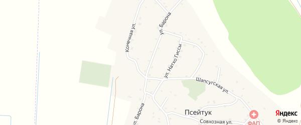 Улица Барона на карте аула Псейтука с номерами домов