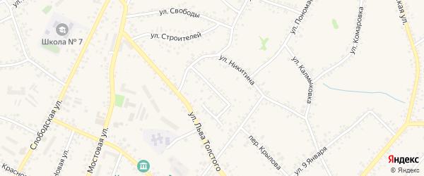 Переулок 1-й Никитина на карте Алексеевки с номерами домов