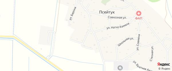 Шапсугский 2-й переулок на карте аула Псейтука с номерами домов