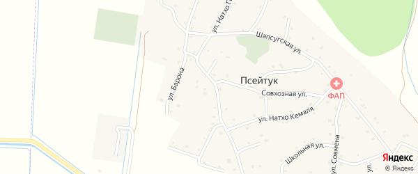 Шапсугский 3-й переулок на карте аула Псейтука с номерами домов
