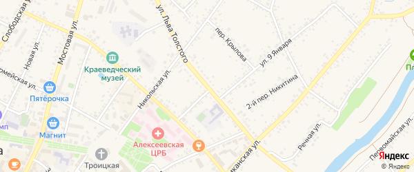 Улица Л.Толстого на карте Алексеевки с номерами домов