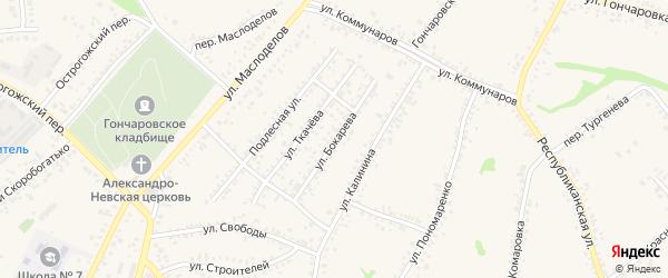 Улица Бокарева на карте Алексеевки с номерами домов