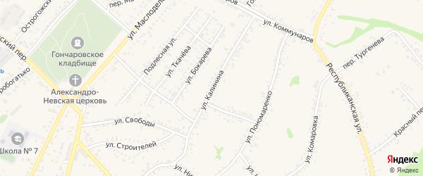 Улица Калинина на карте Алексеевки с номерами домов