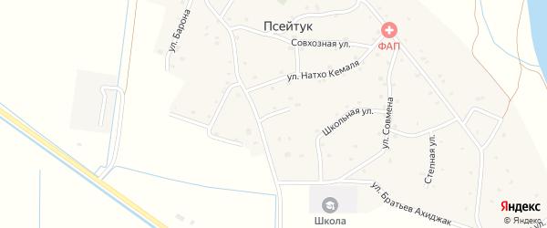 Шапсугский 1-й переулок на карте аула Псейтука с номерами домов