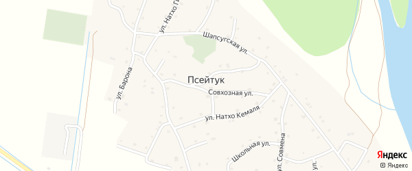 Цветочная улица на карте аула Псейтука с номерами домов