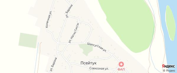 Кубанская улица на карте аула Псейтука с номерами домов