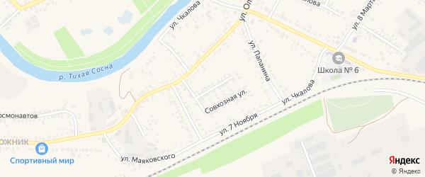 Совхозная улица на карте Алексеевки с номерами домов