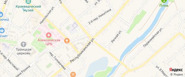 Республиканская улица на карте Алексеевки с номерами домов