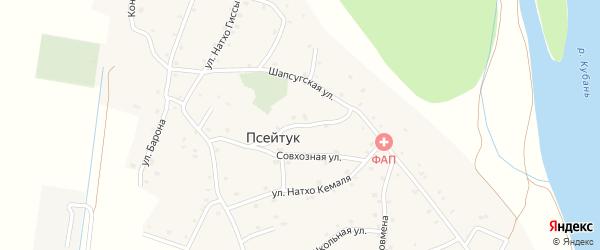 Совхозный переулок на карте аула Псейтука с номерами домов