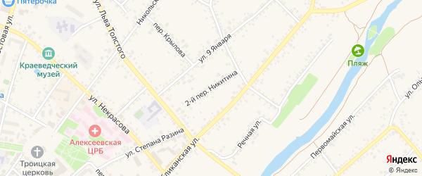 Переулок 2-й Никитина на карте Алексеевки с номерами домов