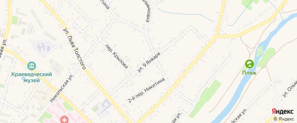Улица 9 Января на карте Алексеевки с номерами домов