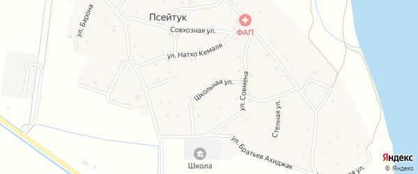Переулок Братьев Ахиджак на карте аула Псейтука с номерами домов