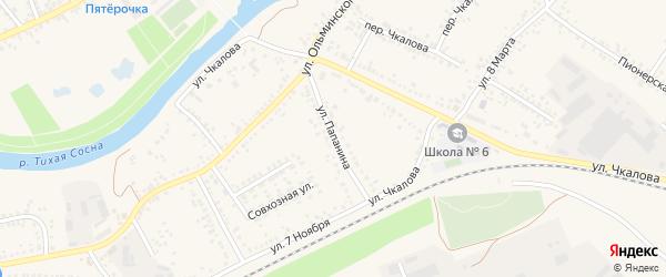 Улица Папанина на карте Алексеевки с номерами домов