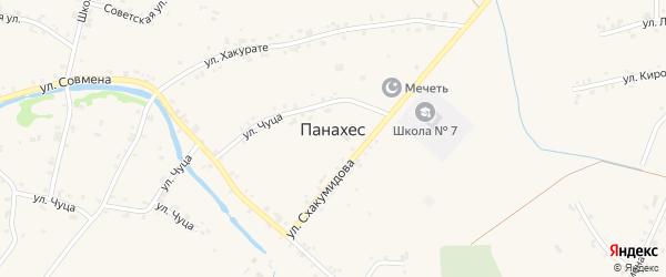 Шоссейная улица на карте аула Панахес с номерами домов