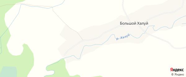 Карта деревни Большого Халуя в Архангельской области с улицами и номерами домов