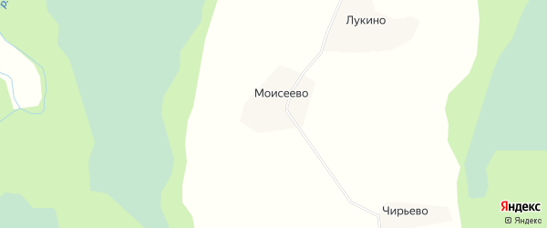 Карта деревни Моисеево в Архангельской области с улицами и номерами домов