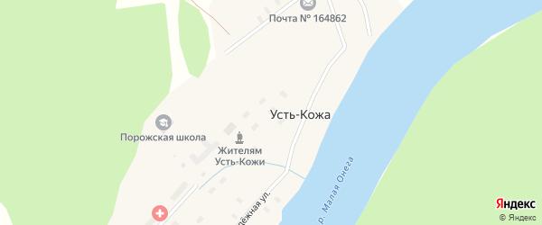 Улица Дружбы на карте деревни Усть-Кожи с номерами домов