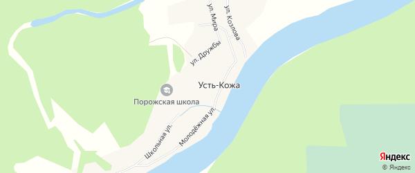 Карта деревни Усть-Кожи в Архангельской области с улицами и номерами домов