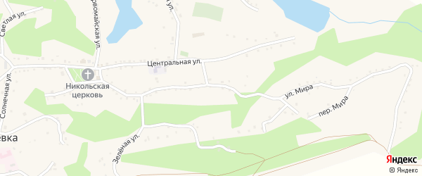 Улица Мира на карте села Николаевки с номерами домов