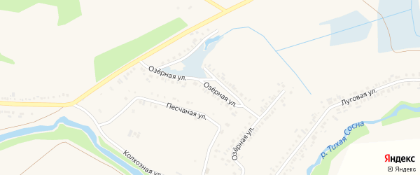 Озерная улица на карте села Белозорово с номерами домов
