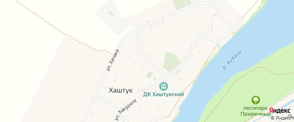 Школьная улица на карте аула Хаштука с номерами домов