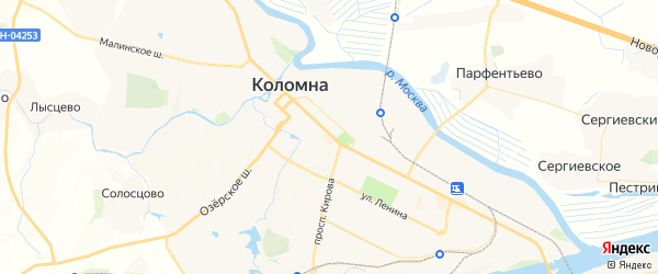 Карта Коломны с районами, улицами и номерами домов