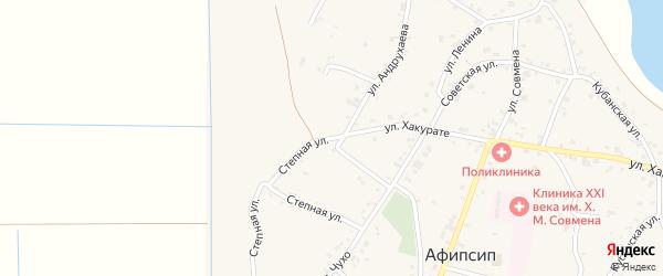 Степная улица на карте аула Афипсипа с номерами домов