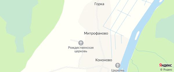 Карта деревни Митрофаново в Архангельской области с улицами и номерами домов