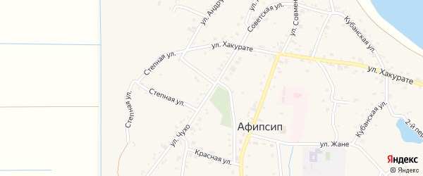 Улица им И.М.Ганиева на карте аула Афипсипа с номерами домов