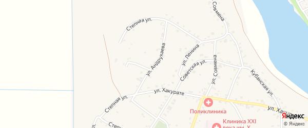 Улица Андрухаева на карте аула Афипсипа с номерами домов