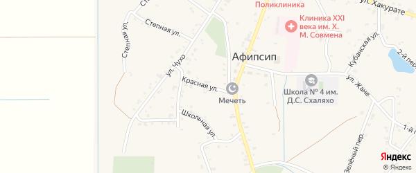 Красная улица на карте аула Афипсипа с номерами домов