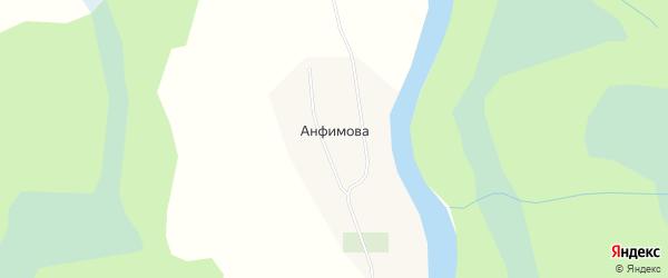 Карта деревни Анфимова в Архангельской области с улицами и номерами домов