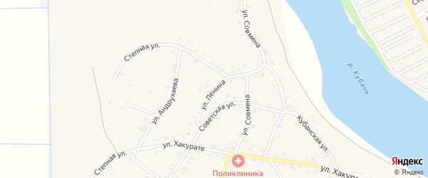 Улица Ленина на карте аула Афипсипа с номерами домов
