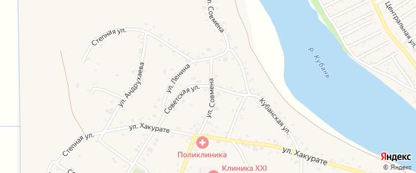 Советская улица на карте аула Афипсипа с номерами домов