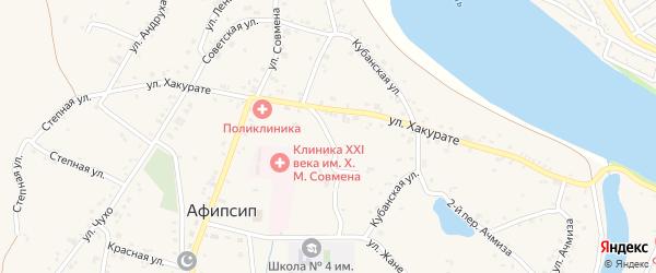 Советский переулок на карте аула Афипсипа с номерами домов