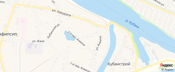 Переулок А.Х.Ачмиза на карте аула Афипсипа с номерами домов