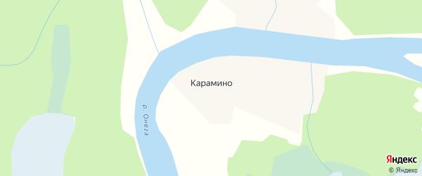 Карта деревни Карамино в Архангельской области с улицами и номерами домов