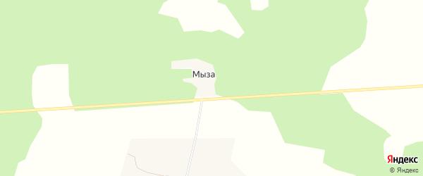 Карта деревни Мызы в Архангельской области с улицами и номерами домов