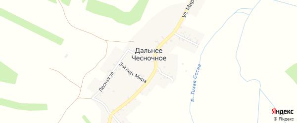 Переулок 1-й Мира на карте Дальнего Чесночного села с номерами домов