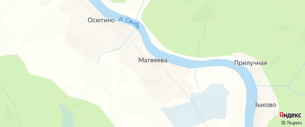 Карта деревни Матвеева в Архангельской области с улицами и номерами домов