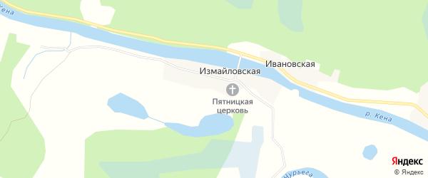 Карта Измайловской деревни в Архангельской области с улицами и номерами домов