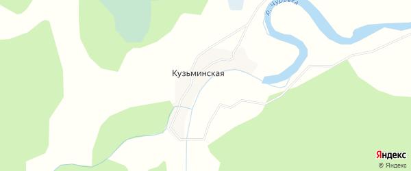 Карта Кузьминской деревни в Архангельской области с улицами и номерами домов