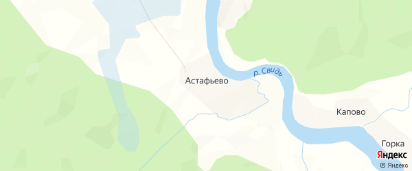 Карта деревни Астафьево в Архангельской области с улицами и номерами домов