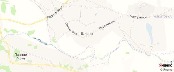 Карта хутора Шияны в Белгородской области с улицами и номерами домов