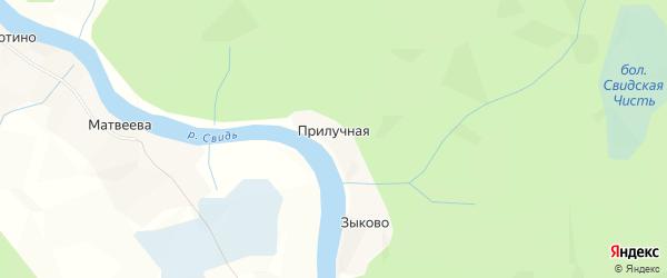 Карта Прилучной деревни в Архангельской области с улицами и номерами домов